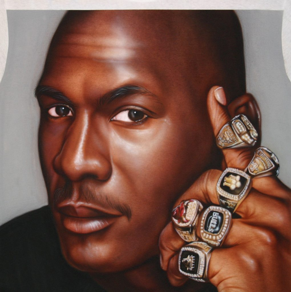 Michael Jordan 6 rings tshirt custom airbrushing