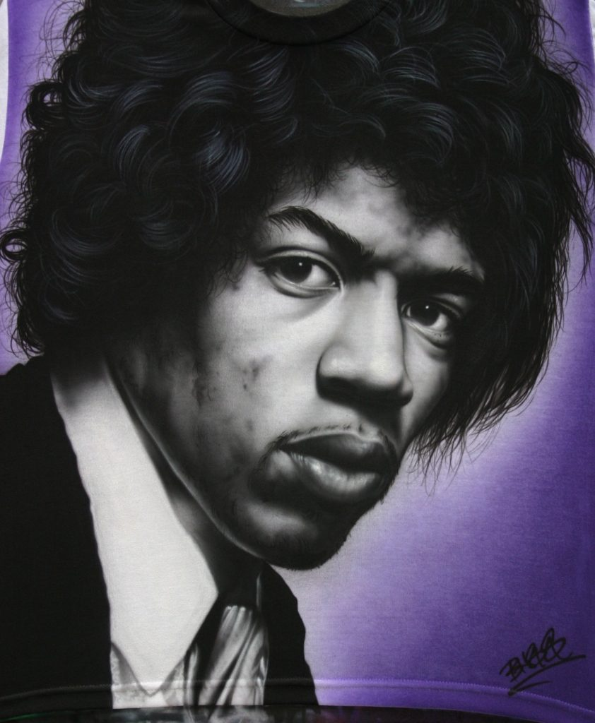 Jimi Hendrix black & white tshirt custom airbrushing