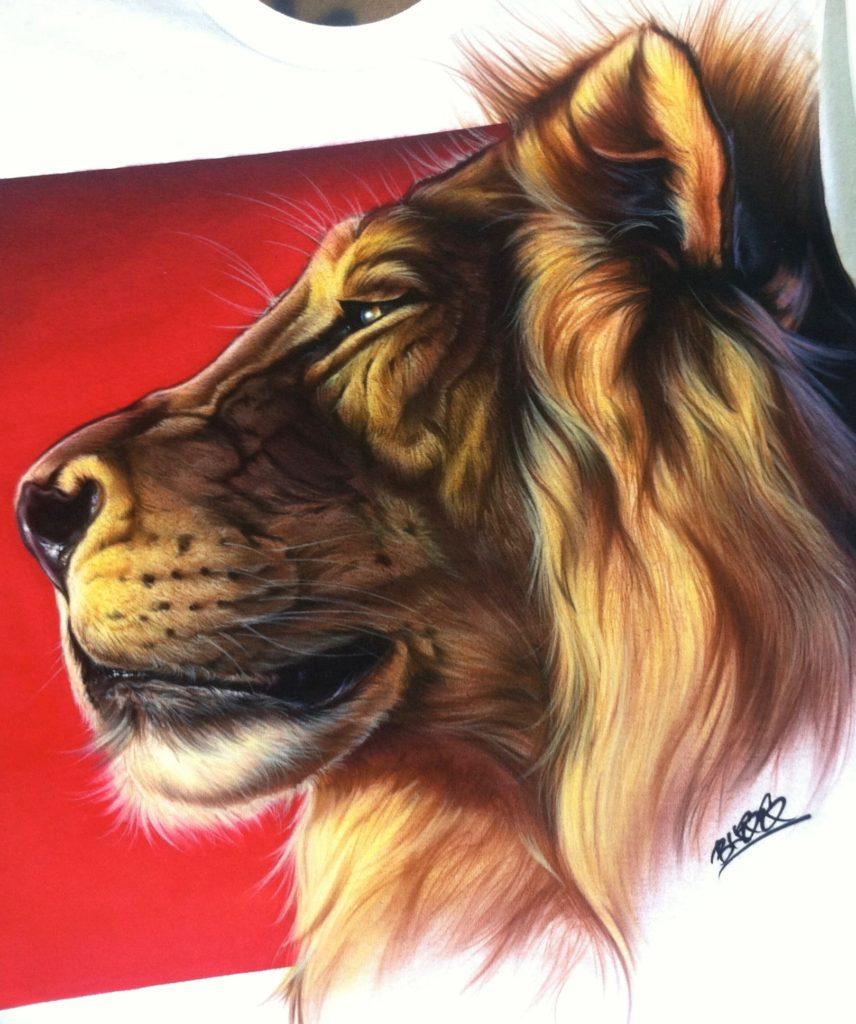 lion profile tshirt custom airbrushing