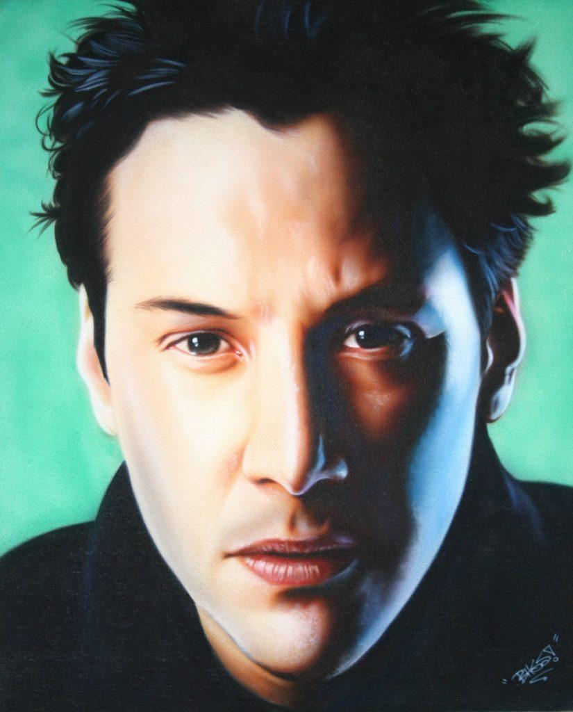 Keanu Reeves closeup portrait custom airbrushing