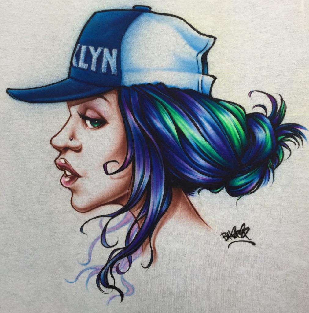 t-shirt custom airbrushing of girl with brooklyn baseball cap