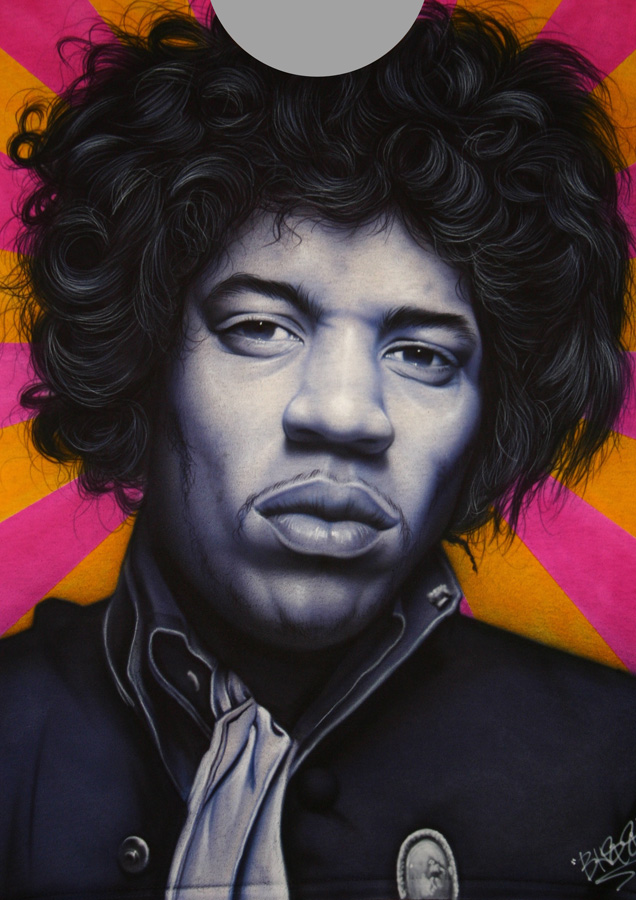 Jimi Hendrix purple face tshirt custom airbrushing