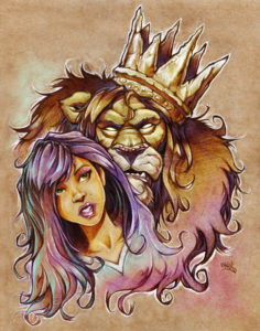 pencil digital illustration artwork of king lion and purple hair girl