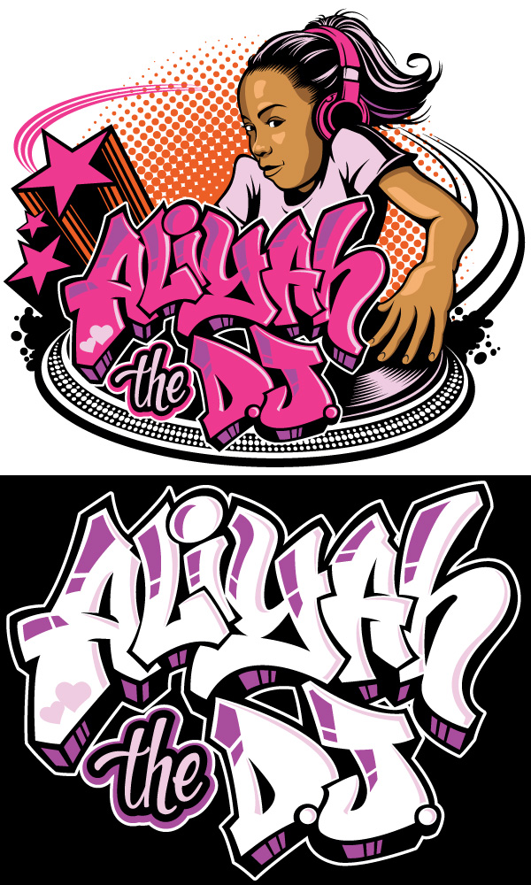 kid dj logo with graffiti lettering logo design graphics