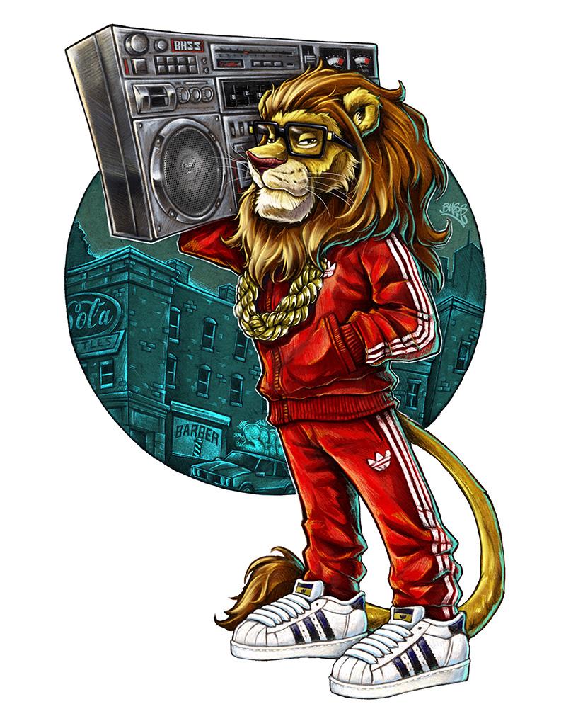 tracksuit wearing cartoon lion holding boombox